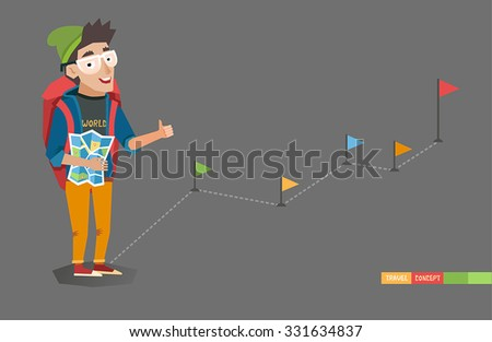 Young Hitchhiker traveling with big bag and map, way with flags on background. Hitchhiking tourism concept. Good for web, mobile apps, infographics. Vector illustration in flat style.  - stock vector