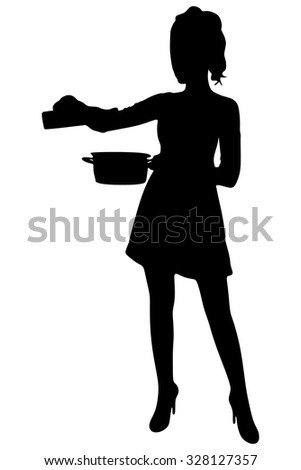 young housewife in the kitchen - stock vector