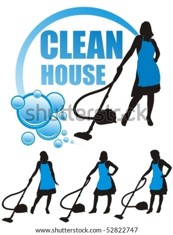 Young housewife with vacuum cleaner over white background. Vector illustration. - stock vector