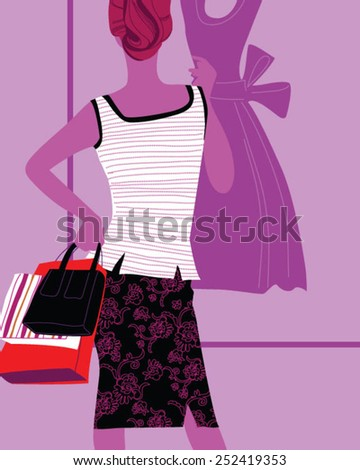 young joyful woman with shopping bags on the background of shop windows  - stock vector