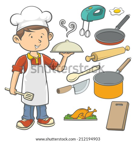 Young kid in chef costume with kitchen equipments isolated over white background.  - stock vector