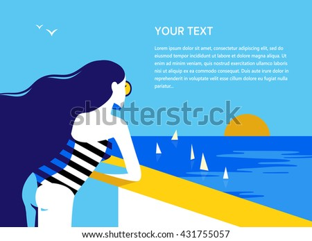 Young long-haired girl watching the sunset. Summer vacation, travel concept. Vector illustration. - stock vector