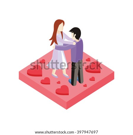 Young love couple dance isometric style design. 3d people romance woman and man dancing on place with heart, love couple  boy and girl isometric design embracing with passion, vector illustration - stock vector