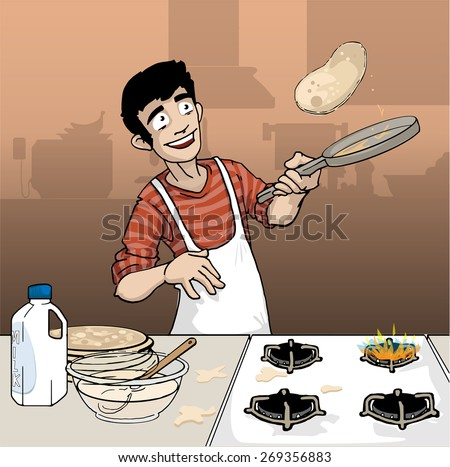 Young male making pancakes in his kitchen, vector illustration - stock vector