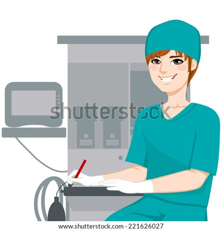 Young male nurse working writing documents in front of anesthetist medical equipment machine - stock vector