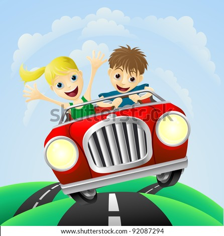 Young man and woman having fun driving their car on a road trip. - stock vector