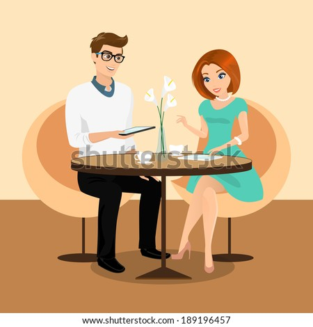 Young man and woman using a tablets pc in the restaurant. - stock vector