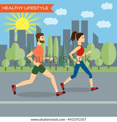 Young man and young woman fitness runners on city background. Healthy way of life,  exercise and run. Vector illustration. - stock vector