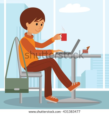 Young man at work sitting in cafe, drinking coffee. Vector illustration of student at coffee break using laptop. Drawing for coffee shop. - stock vector