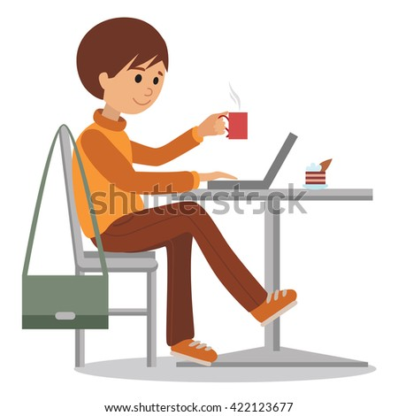 Young man at work sitting in cafe, drinking coffee. Vector illustration of student using laptop. Drawing element of design isolated on white background. - stock vector