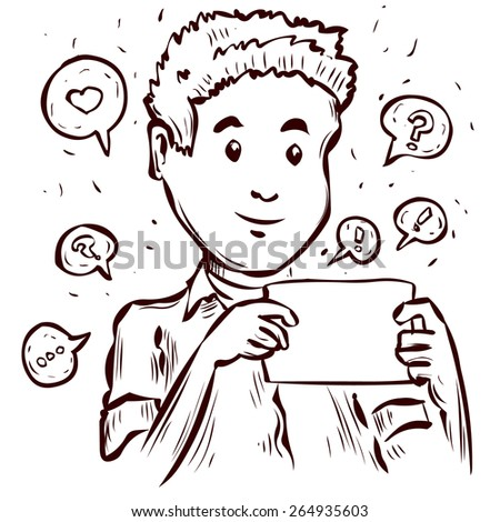 Young man chats on his tablet. Hand drawn cartoon vector illustration. - stock vector