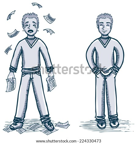 young man crying with bills and happy with hands on pockets - stock vector