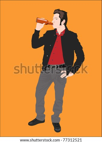Young man drinking bottle of beer on orange - stock vector