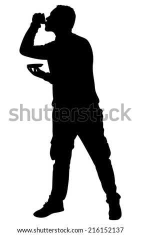 Young man drinking cup of coffee, vector - stock vector