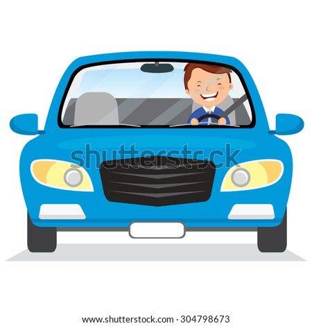Young man driving blue car. Vector illustration of a cheerful man driving on isolated background. - stock vector
