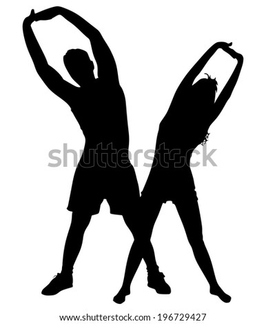 Young man exercising with girl, vector  - stock vector
