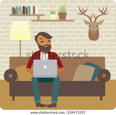 Young man freelancer working from cozy home - stock vector