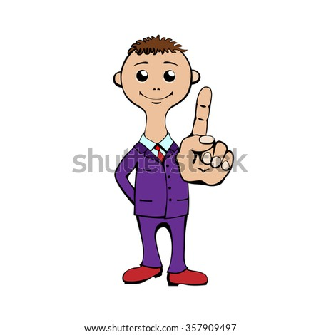 Young man gesturing forefinger in a suit and tie. Caricature. Cartoon. Flat. - stock vector