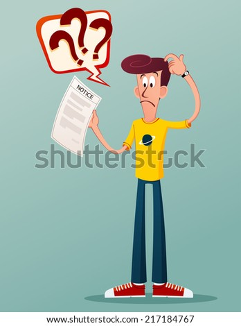 young man get confused seeing his notification letter - stock vector