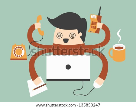 young man has very hard work - stock vector