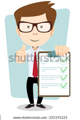Young Man Holding a Document in Which All Approved, Validated, Agreed. The Document Put the Green Check Mark, Flags. Vector Illustration - stock vector