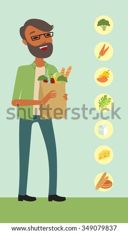 Young man  holding a shopping bag full of healthy food - stock vector