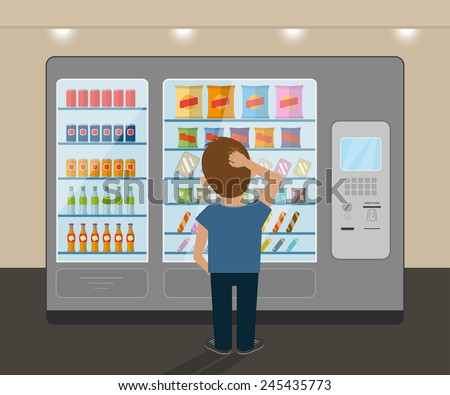 Young man is choosing a snack at vending machine - stock vector