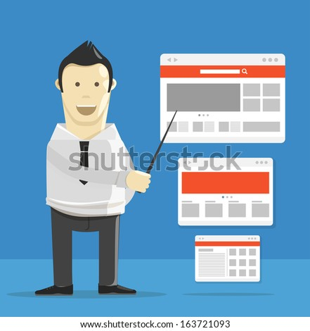 Young man making presentation of new web project  - stock vector
