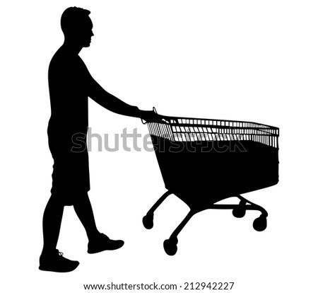 Young man pushing shopping cart isolated on white background, vector - stock vector