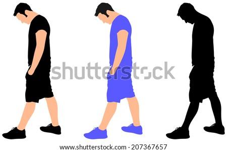 young man sad walking, vector - stock vector