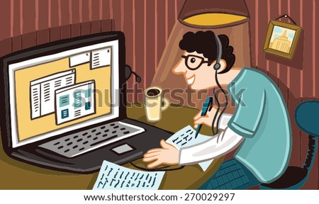 young man sitting in a room at the computer - stock vector