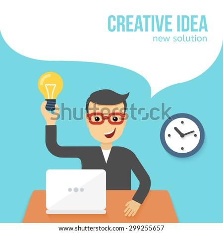 Young man sitting in front of a laptop found a solution. Vector background with office worker talking his creative idea in speech bubble. Flat illustration - stock vector