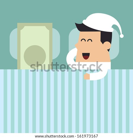 Young man sleeping with money on the bed, Business concept - stock vector