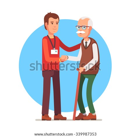 Young man social worker helping elder grey haired man standing with a cane. Flat style vector illustration isolated on white background. - stock vector