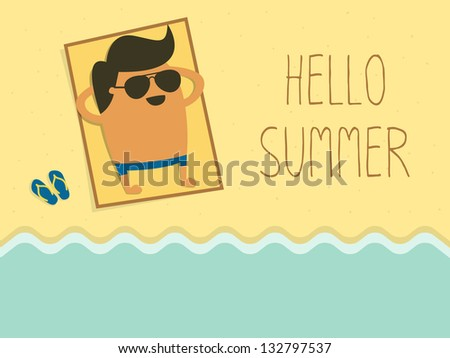 young man sunbathing on a beach - stock vector