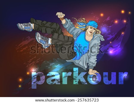 Young man - tracer in the free jump an obstacle in the form of the word Parkour. Night bright background with stains, splashes and sparks. - stock vector