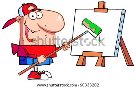 Young Man Using A Roller Brush To Paint A Canvas - stock vector