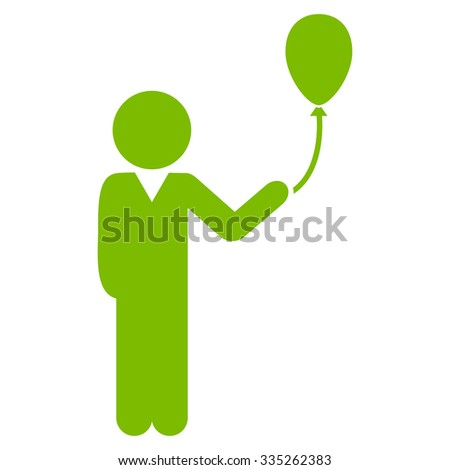 Young Man With Balloon vector icon. Style is flat symbol, eco green color, rounded angles, white background. - stock vector