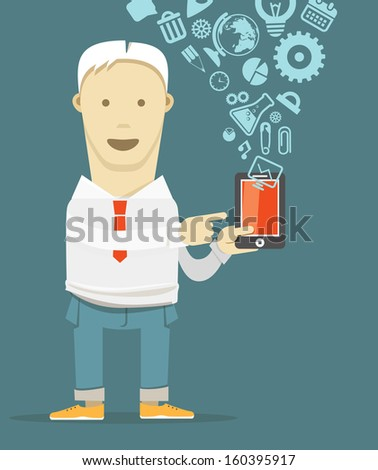 Young man with new modern mobile phone  - stock vector