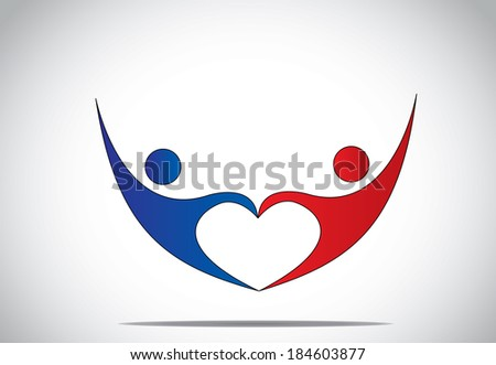 young man & woman couple dance & hold hands in love heart shape. blue and red colored happy male and female person symbols dancing and jumping with joy and happiness with hands up - concept symbol - stock vector