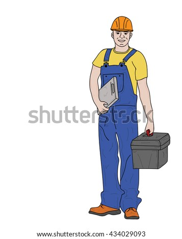 young man working. builder. in overalls and tools. vector illustration. - stock vector
