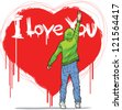 young man writing on the wall I love you. graffiti style - stock vector