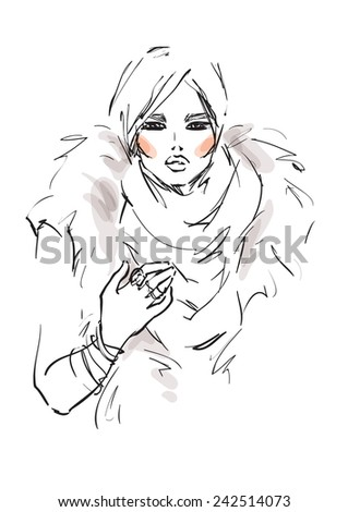 Young model in winter clothes - stock vector