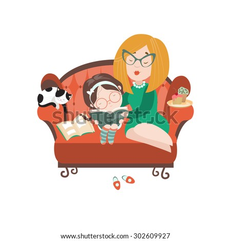 Young mother reading book to her daughter. Vector isolated illustration - stock vector