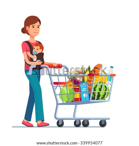 Young mother with son baby toddler in a sling pushing supermarket shopping cart full of groceries. Flat style vector illustration isolated on white background. - stock vector