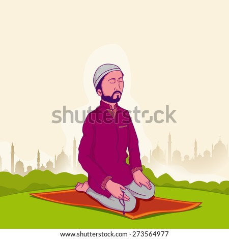 Young Muslim man holding rosary and praying (reading Namaz, Islamic Prayer) on Mosque silhouette background for holy month Ramadan Kareem celebration. - stock vector