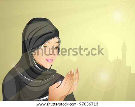 Young Muslim woman in hijab doing prayer, eps 10. Vector illustration. - stock vector