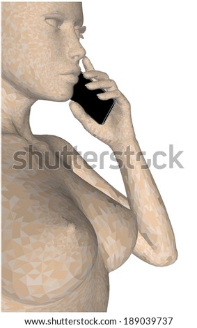 Young Nude In Triangle Skin Color Network Woman Holding Mobile Telephone Vector - stock vector