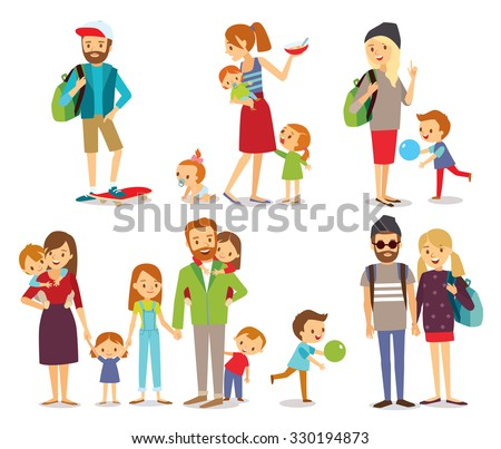 young people, couple and family with kids - stock vector