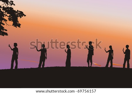 Young people doing meditation - stock vector